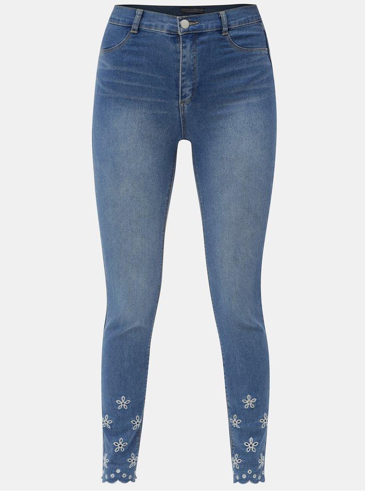 Modré skinny džíny s průstřihy na nohavicích Dorothy Perkins Tall
