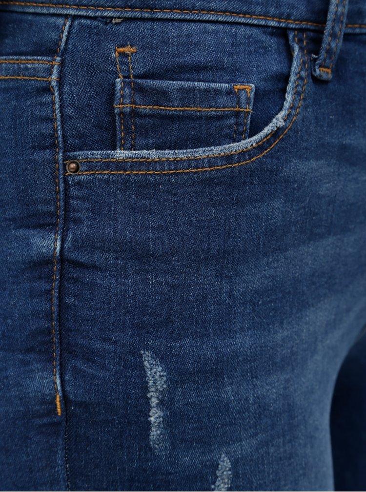 Tmavě modré skinny džíny s potrhaným efektem Dorothy Perkins Darcy
