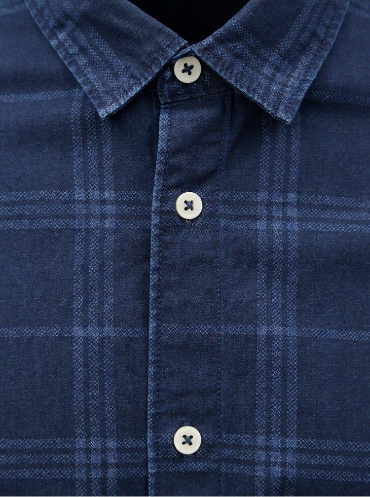 Tmavě modrá károvaná slim košile ONLY & SONS