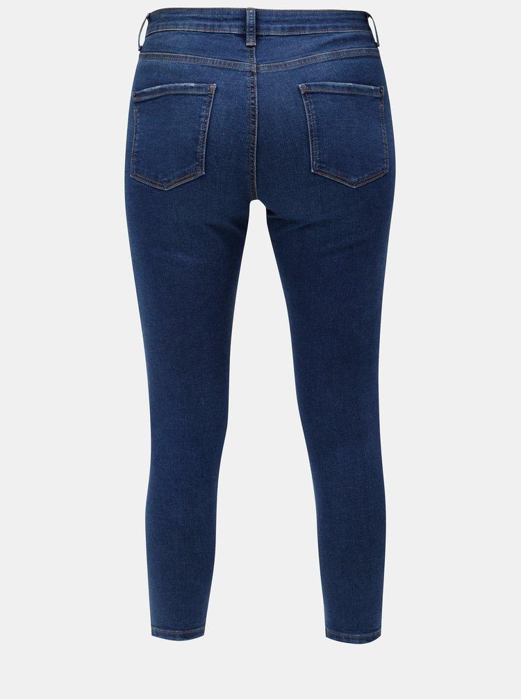 Tmavě modré zkrácené skinny džíny s potrhaným efektem Dorothy Perkins Darcy