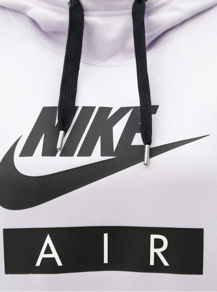 Světle fialová dámská dlouhá volná mikina s kapucí Nike