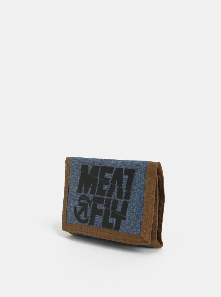 Hnědo-modrá pánská peněženka Meatfly