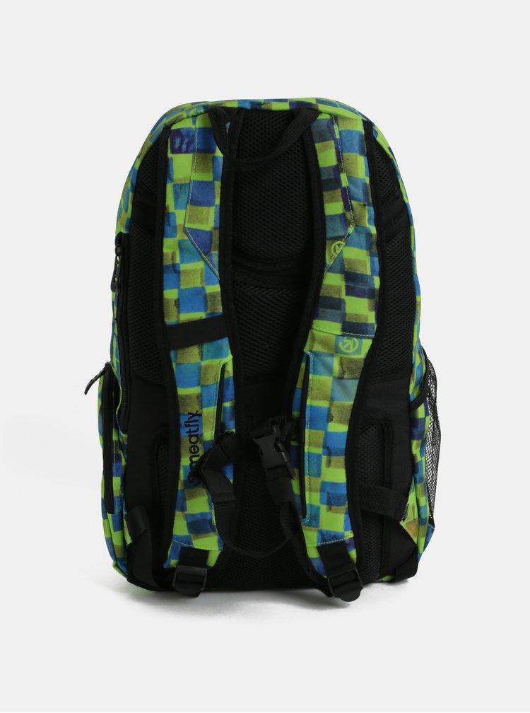 Modro-zelený pánský kostkovaný batoh Meatfly Basejumper 3 20 l