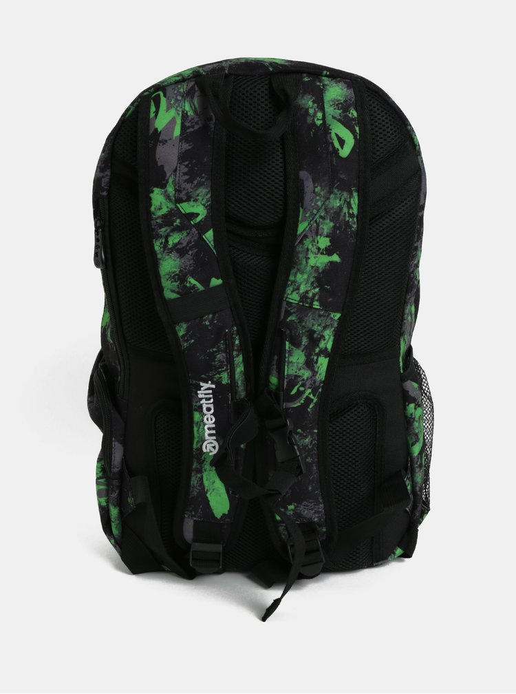 Zeleno-černý pánský kostkovaný batoh Meatfly Basejumper 3 20 l