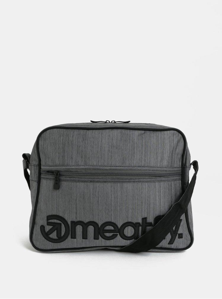 Šedá žíhaná taška přes rameno Meatfly Gerome