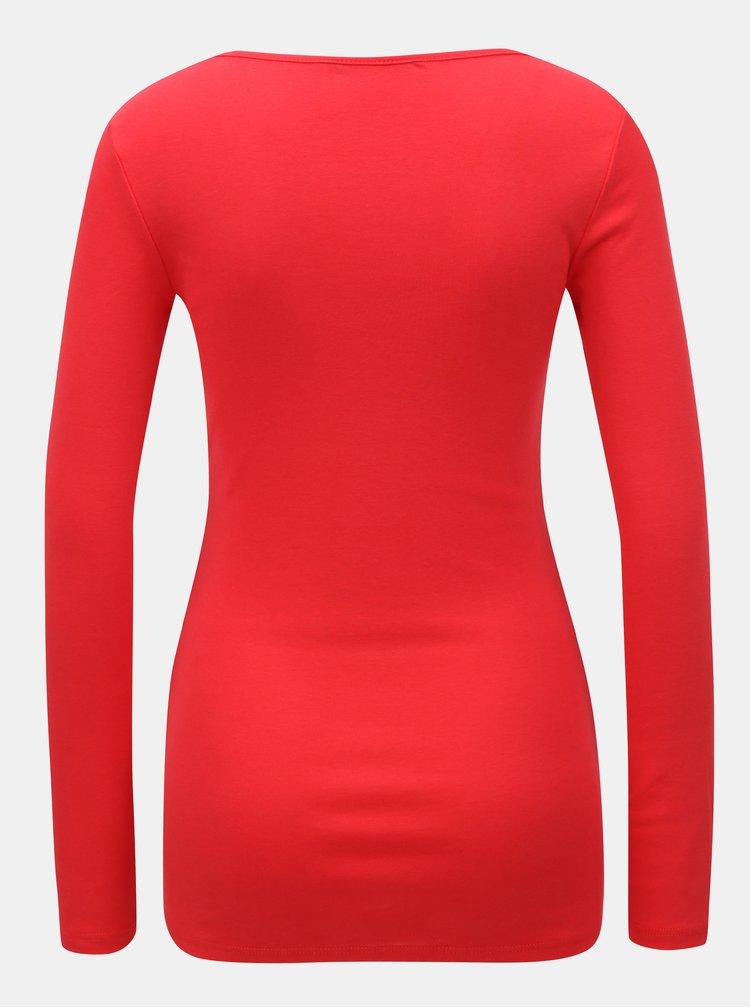 Červené tričko s dlouhým rukávem Dorothy Perkins