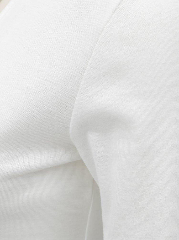 Bílé basic tričko s dlouhým rukávem Dorothy Perkins