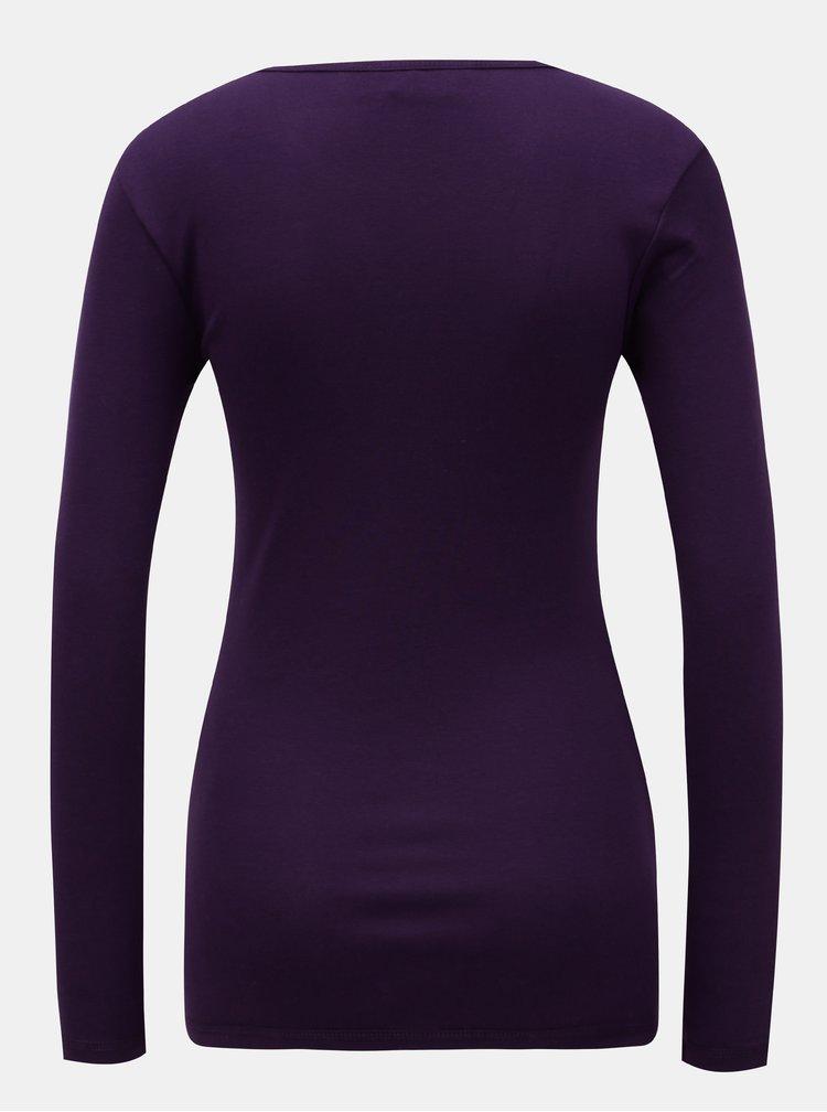 Fialové basic tričko s dlouhým rukávem Dorothy Perkins
