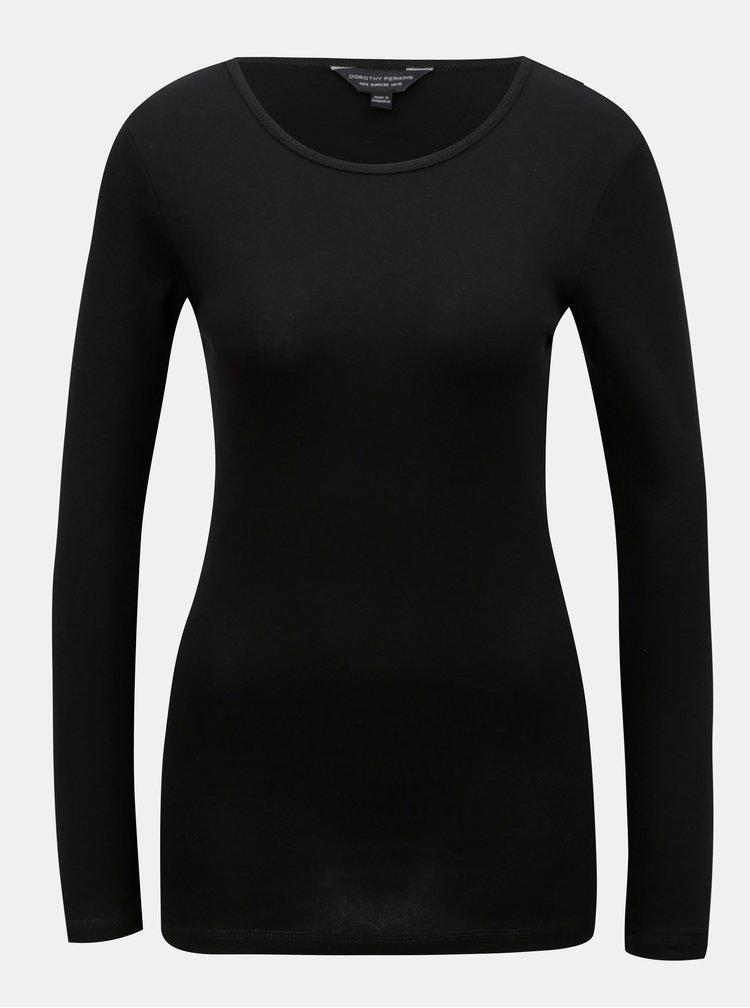 Černé tričko s dlouhým rukávem Dorothy Perkins