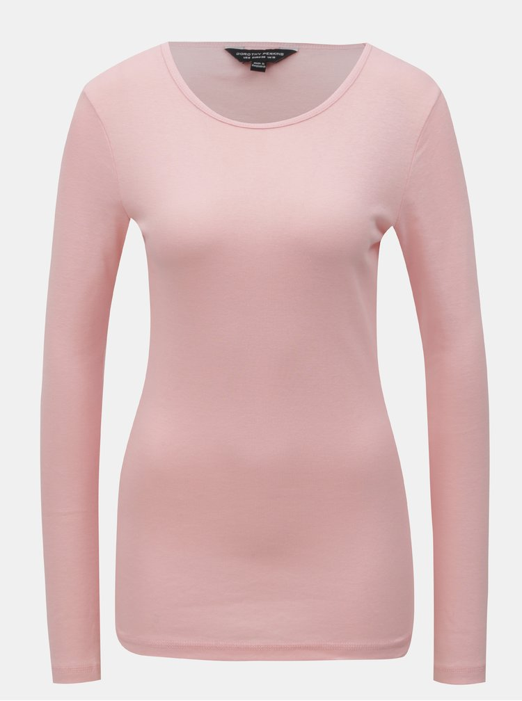 Růžové basic tričko s dlouhým rukávem Dorothy Perkins