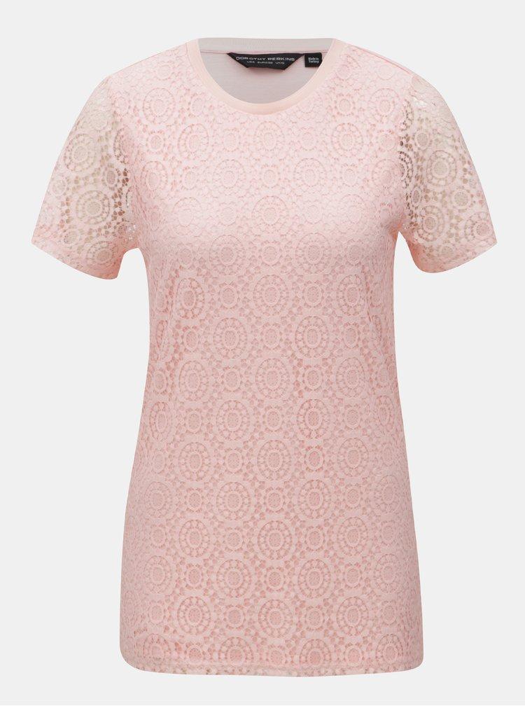 Světle růžové krajkované tričko Dorothy Perkins