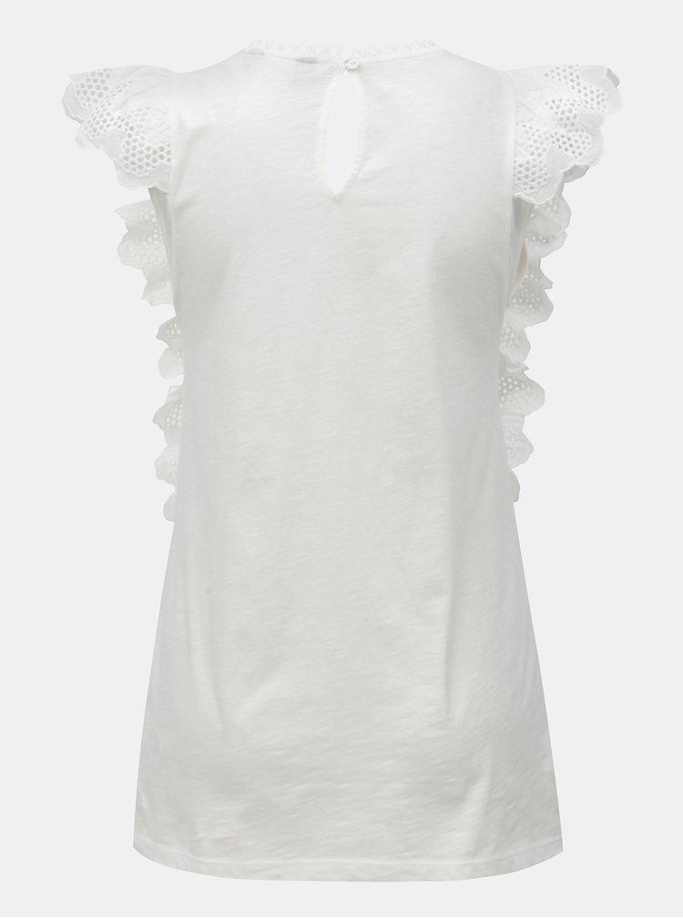 Bílé krajkové tričko s volány Dorothy Perkins Tall