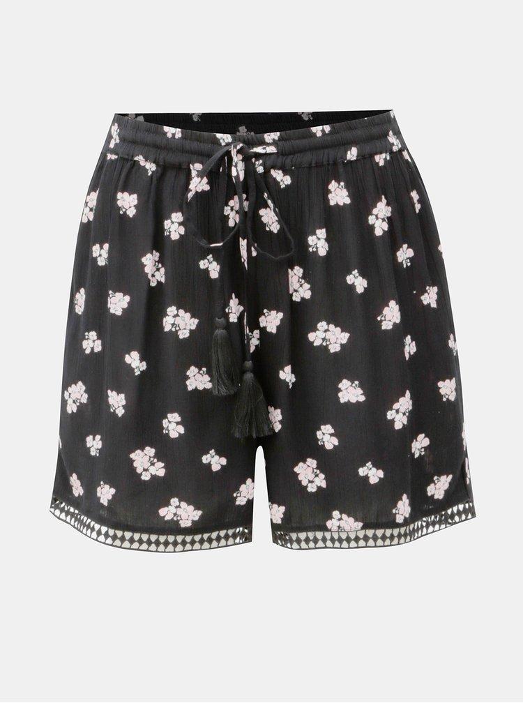 Pantaloni negri scurti cu model si talie inalta Dorothy Perkins