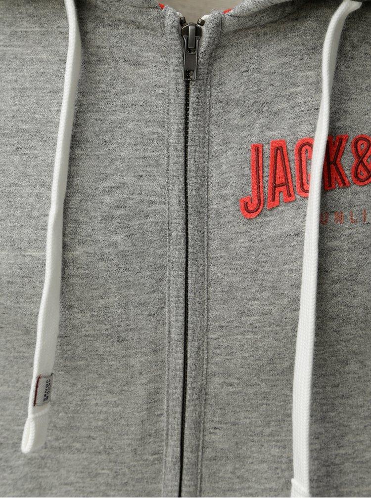 Šedá žíhaná mikina s nášivkou Jack & Jones Limit