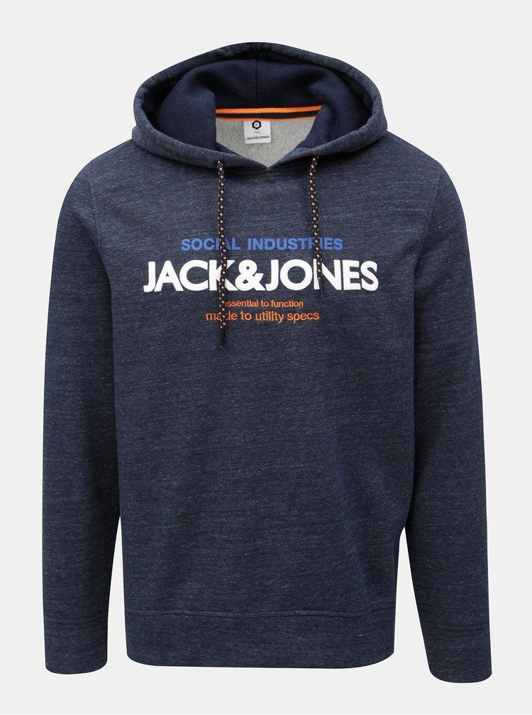 Tmavě modrá žíhaná mikina s potiskem Jack & Jones Jacob