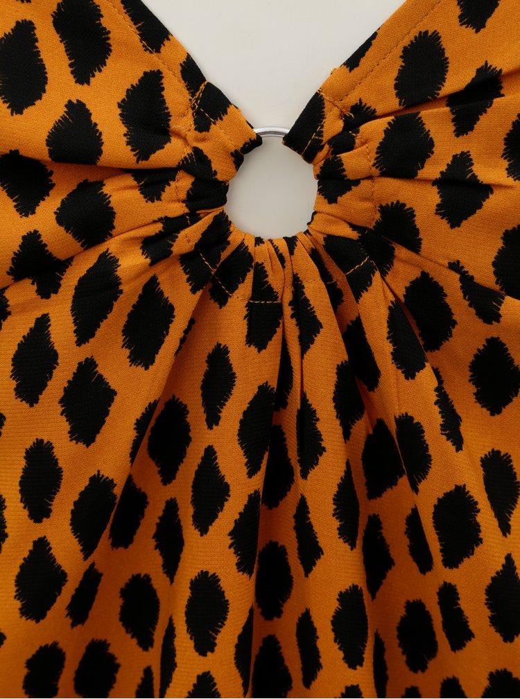 Černo-oranžová vzorovaná halenka VERO MODA Loa