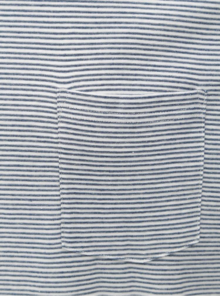 Modro-bílé pruhované tričko s náprsní kapsou Burton Menswear London