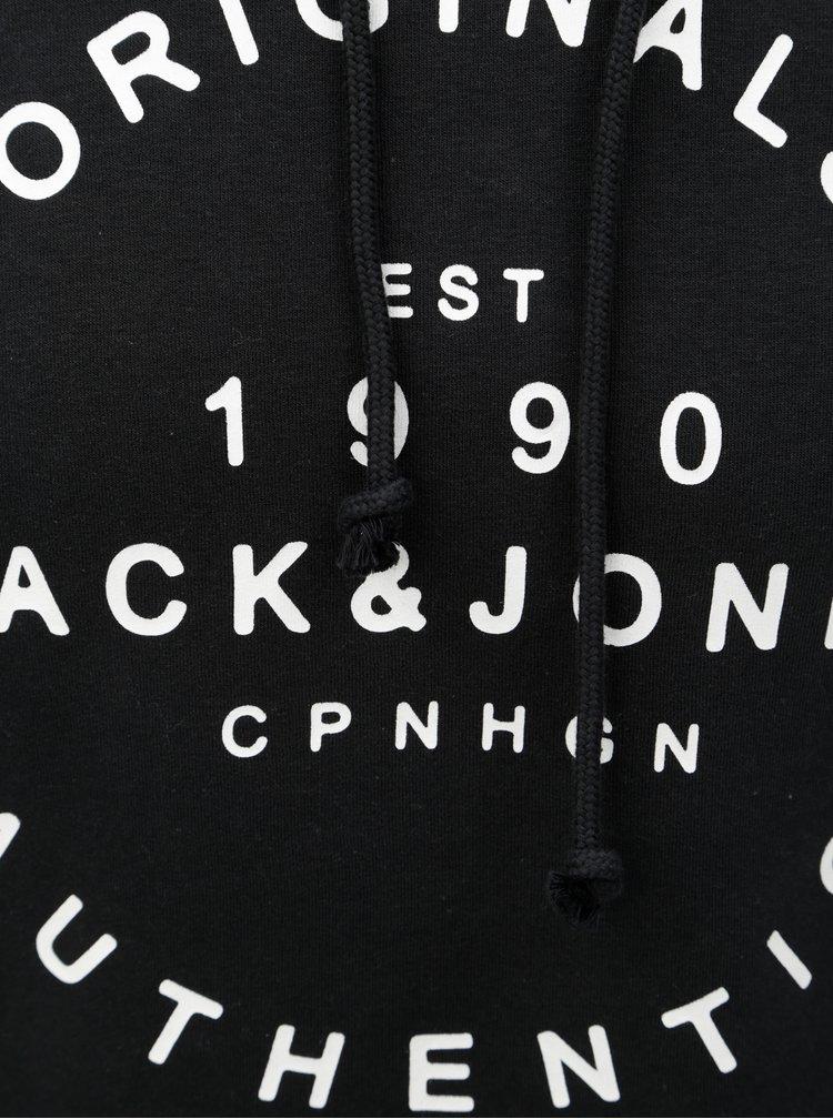 Černá mikina s kapucí a potiskem Jack & Jones New soft neo