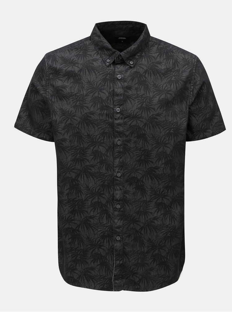 Camasa gri inchis cu print de frunze Burton Menswear London