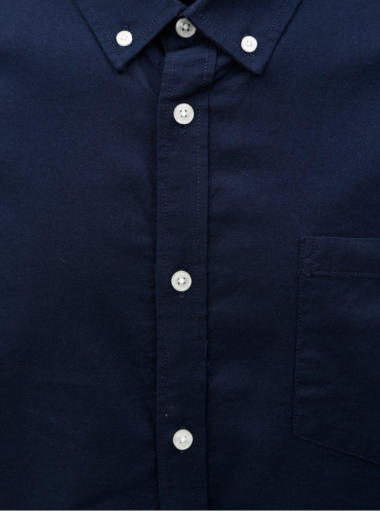 Tmavě modrá košile s náprsní kapsou a dlouhým rukávem Burton Menswear London