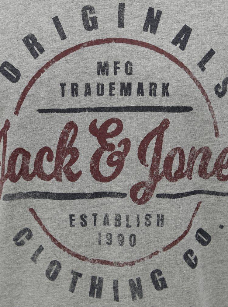 Tricou gri melanj cu print Jack & Jones Vinnie