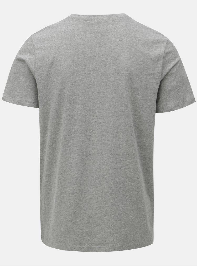 Sivé melírované tričko s potlačou Jack & Jones Vinnie