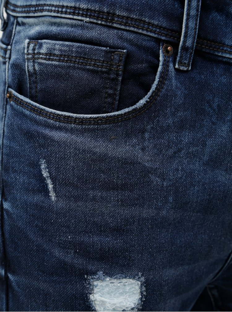 Tmavomodré rifľové kraťasy s otrhaným efektom Burton Menswear London