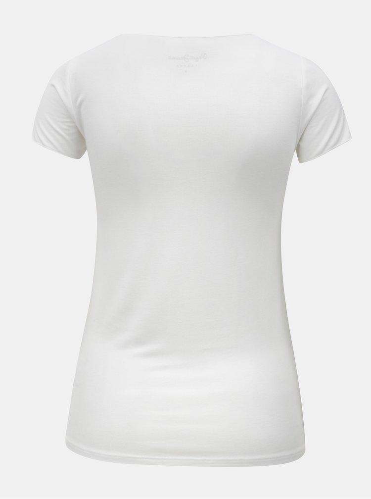 Tricou de dama alb cu print Pepe Jeans