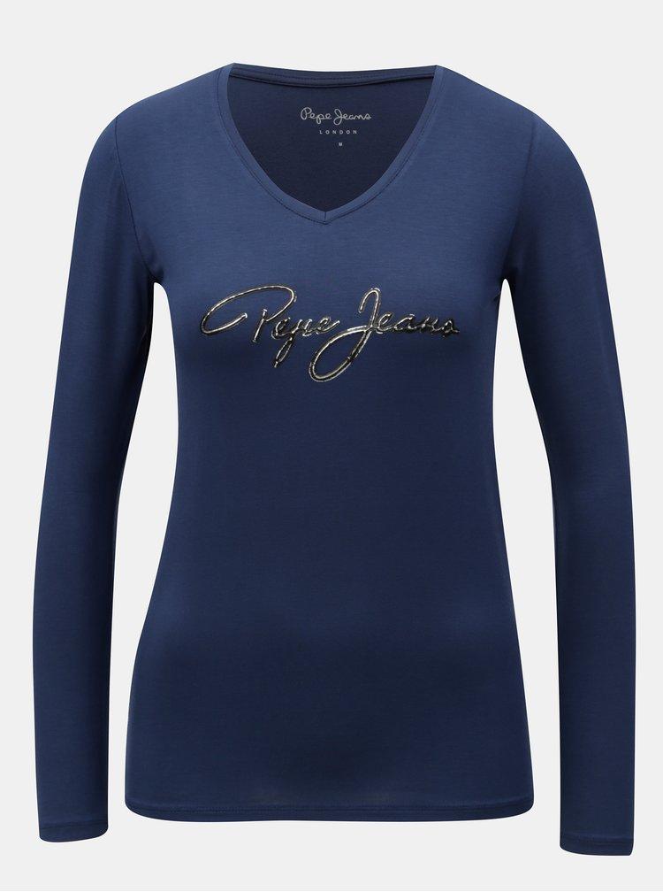 Modré dámské tričko s dlouhým rukávem Pepe Jeans