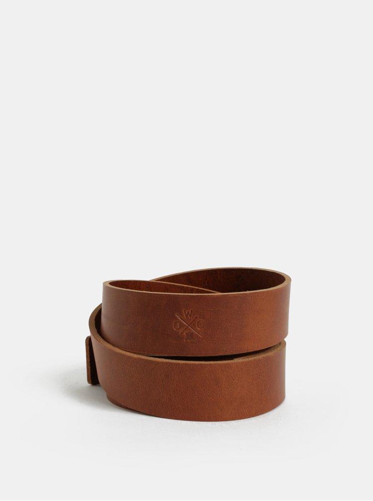 Hnědý pánský kožený pásek WOOX