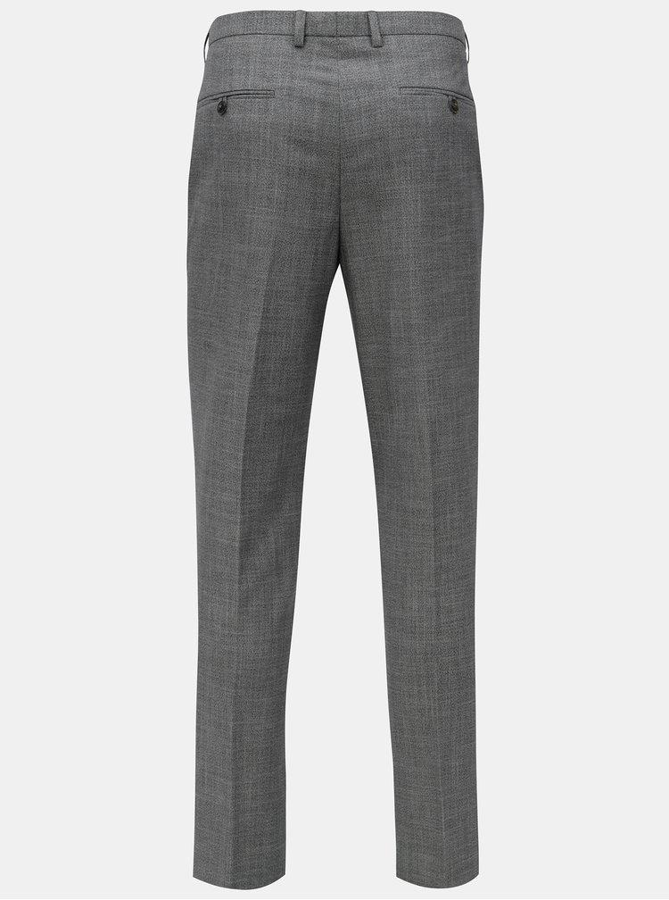Šedé žíhané oblekové kalhoty Burton Menswear London