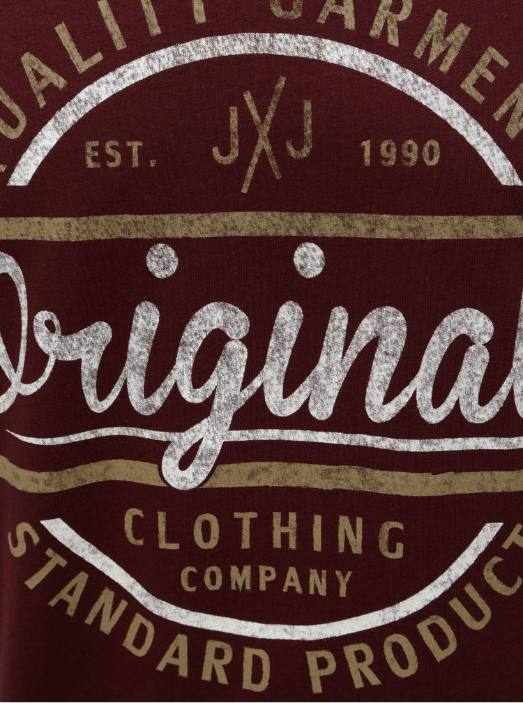 Tricou visiniu cu print Jack & Jones Vinnie