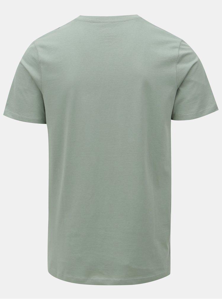 Světle zelené tričko s potiskem Jack & Jones New felt