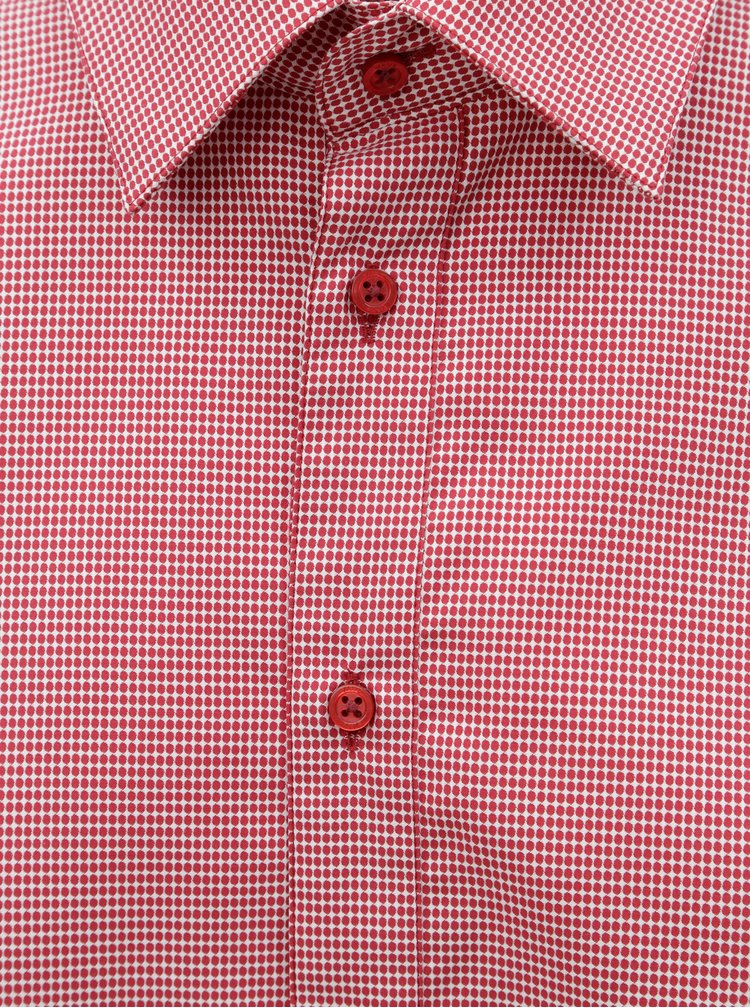 Červená pánská vzorovaná košile s dlouhým rukávem VAVI