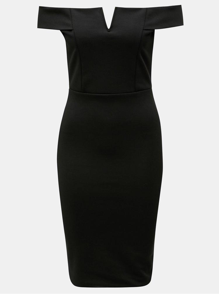 Čierne puzdrové šaty s odhalenými ramenami MISSGUIDED