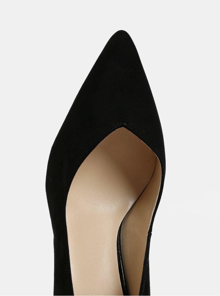 Pantofi negri din piele intoarsa cu toc inalt Högl