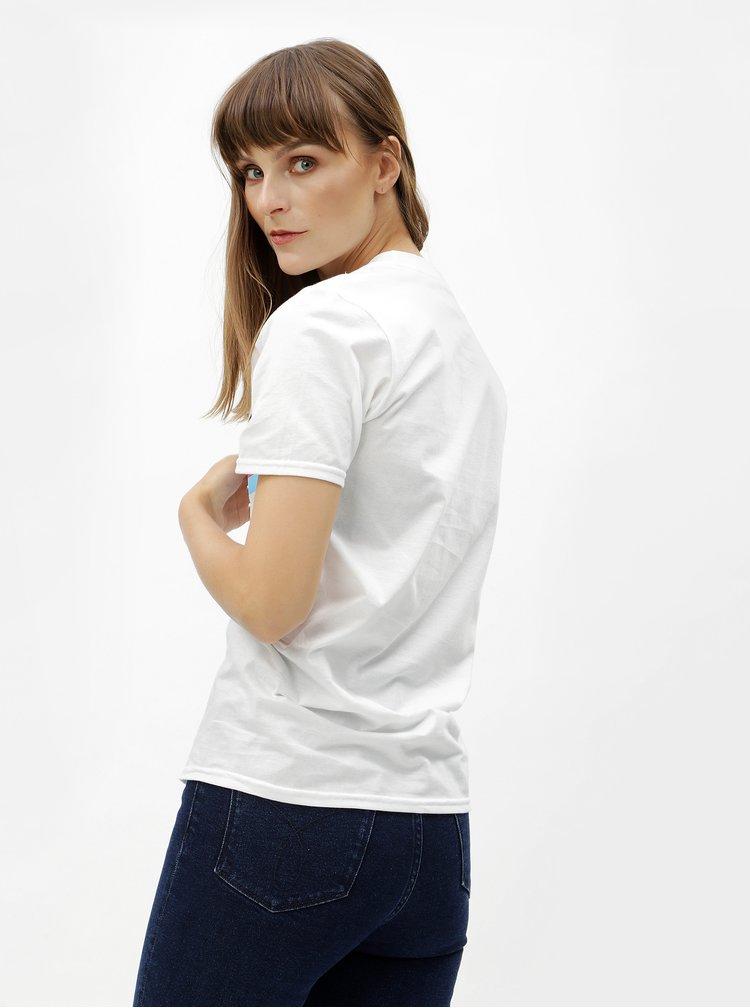 Biele tričko s potlačou a krátkym rukávom MISSGUIDED
