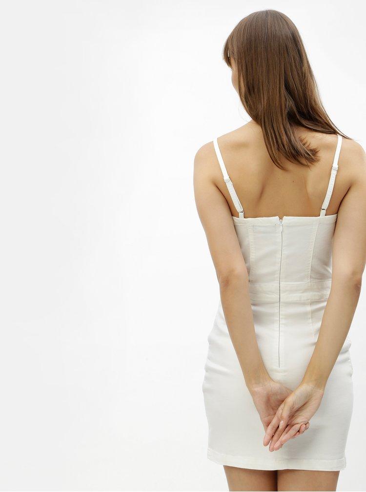 Biele rifľové puzdrové minišaty na ramienka MISSGUIDED