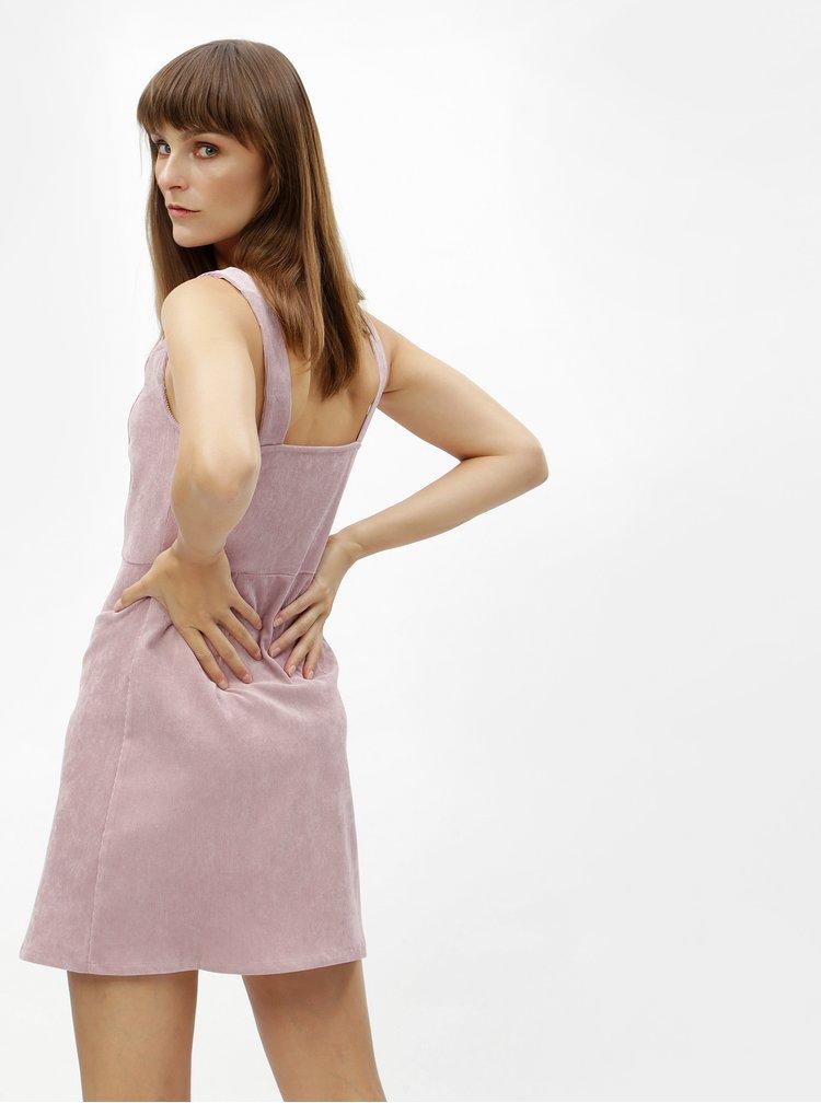 Rochie mini roz prafuit din material reiat cu fermoar MISSGUIDED