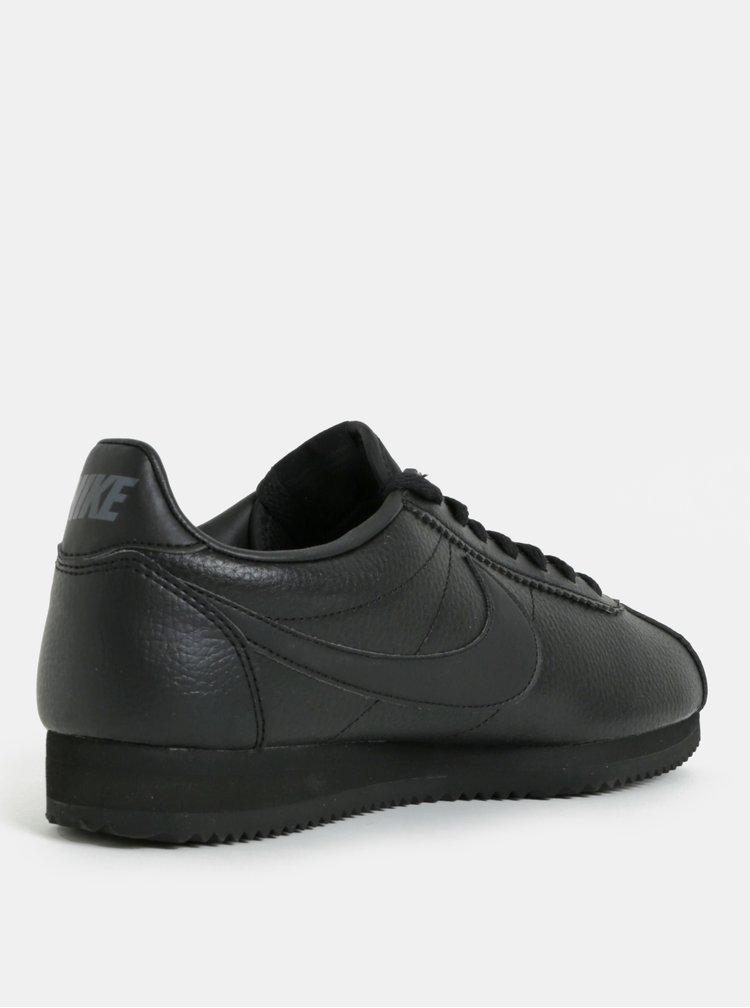 Černé pánské kožené tenisky Nike Classic Leather