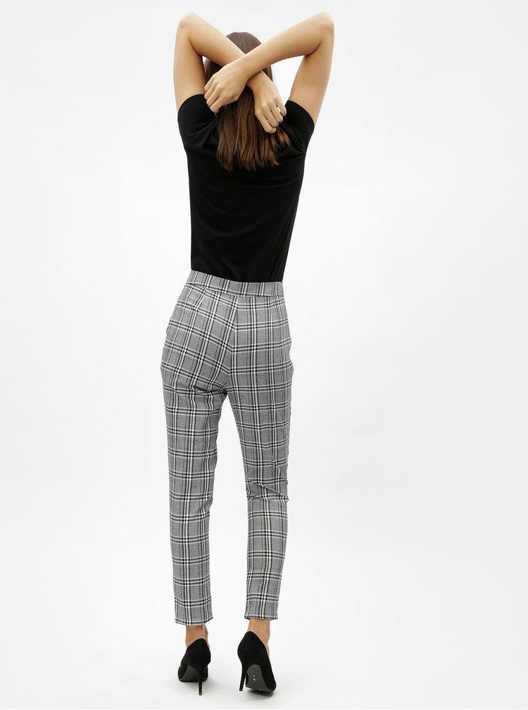 Šedé kostkované zkrácené kalhoty s vysokým pasem MISSGUIDED