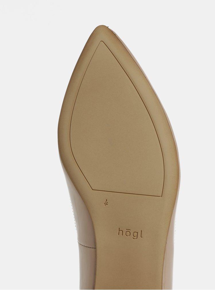 Béžové kožené lesklé baleríny Högl