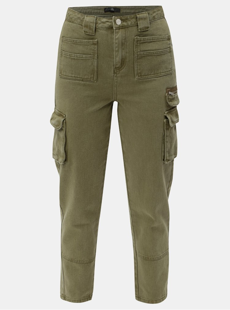 Khaki mom džíny s vysokým pasem a kapsami MISSGUIDED