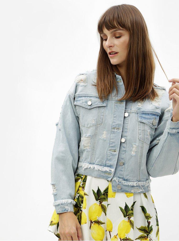 Světle modrá džínová bunda s výšivkou a potrhaným efektem MISSGUIDED