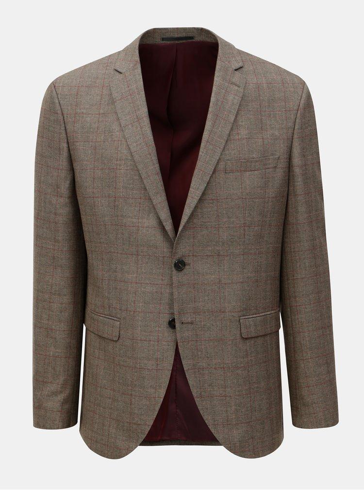 Hnědé kostkované oblekové sako Selected Homme