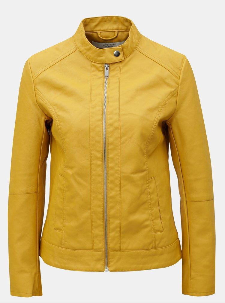 Žltá koženková bunda Jacqueline de Yong Dallas