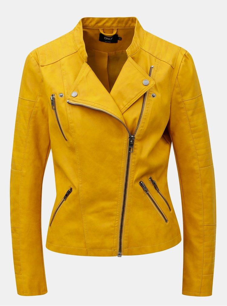 Jacheta biker mustar din piele sintetica ONLY Ava