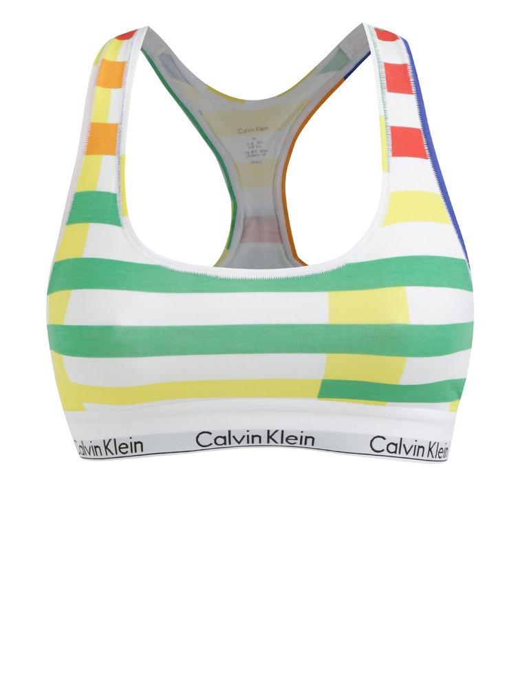 Zeleno-bílá pruhovaná podprsenka Calvin Klein Underwear