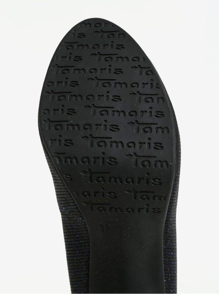 Tmavě modré lodičky se třpytivým efektem na vysokém podpatku Tamaris