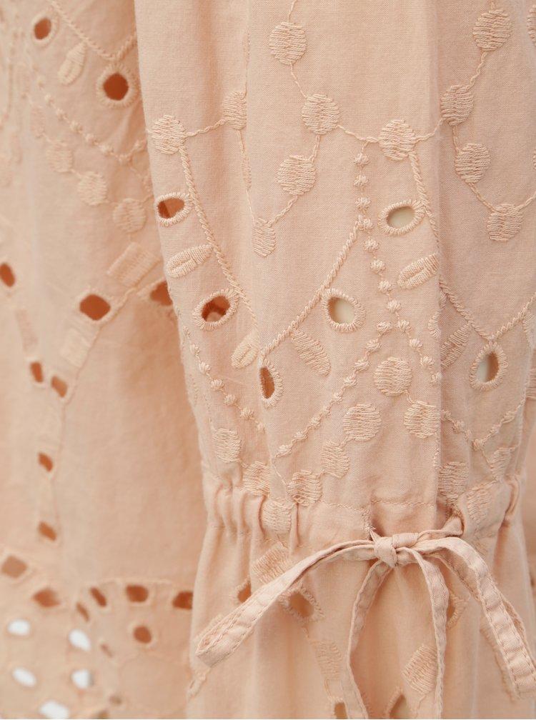 Světle růžový top s odhalenými rameny a madeirou Dorothy Perkins
